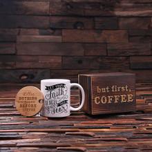 Groomsmen Bridesmaid Gift 12 oz. Coffee Mug with Lid and Tea Box (P00034)