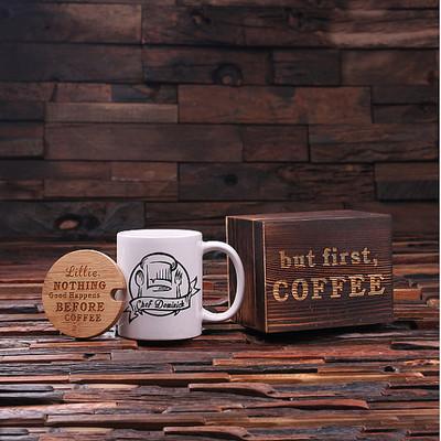 Groomsmen Bridesmaid Gift 12 oz. Coffee Mug with Lid and Tea Box (P00020)