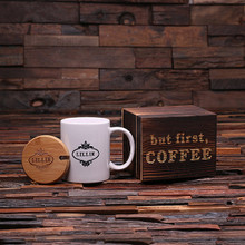 Groomsmen Bridesmaid Gift 12 oz. Coffee Mug with Lid and Tea Box (P00006)