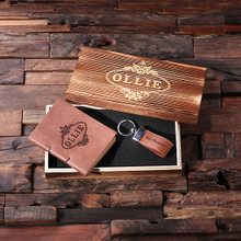 Groomsmen Bridesmaid Gift 2 pc. Gift Set – Key Chain and Journal with Wood Box