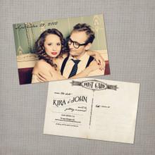 Kira - 4x6 Vintage Photo Save the Date Postcard card
