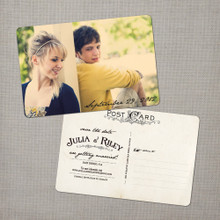 Julia - 4x6 Vintage Photo Save the Date Postcard card