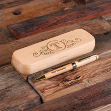 Groomsmen Bridesmaid Gift Wood Desktop Pen Set Engraved and Monogrammed Corporate Promotional Gift