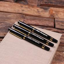 Groomsmen Bridesmaid Gift Set of 3 Metal Pens Gold Hardware