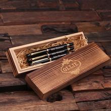 Groomsmen Bridesmaid Gift Set of 3 Metal Pens Gold Hardware with Wood Gift Box