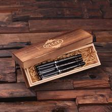 Groomsmen Bridesmaid Gift Set of 3 Metal Pens Silver Hardware with Wood Gift Box