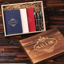 Groomsmen Bridesmaid Gift Womens Executive Gift Set with Keepsake Box – Journals and Pens Red White and Blue Set