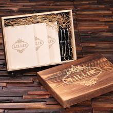 Groomsmen Bridesmaid Gift Womens Executive Gift Set with Keepsake Box – Journals and Pens White