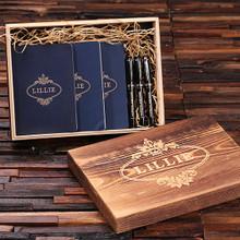 Groomsmen Bridesmaid Gift Womens Executive Gift Set with Keepsake Box – Journals and Pens Blue