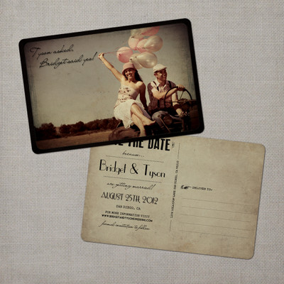 Bridget - 4x6 Vintage Photo Save the Date Postcard card