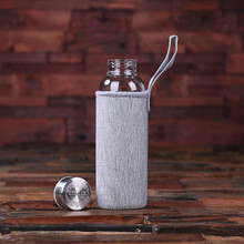 Groomsmen Bridesmaid Gift Engraved Glass Water Bottle Thermos – Grey