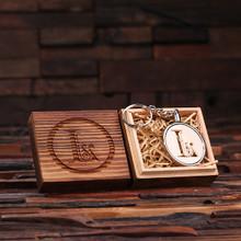 Groomsmen Bridesmaid Gift Acrylic Monogram Key Chain with Wood Box (Ivory)