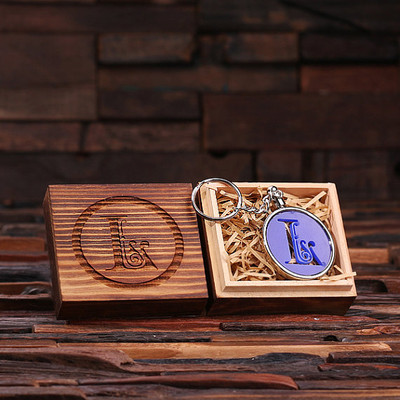 Groomsmen Bridesmaid Gift Acrylic Monogram Key Chain with Wood Box (Blue)