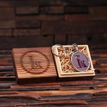 Groomsmen Bridesmaid Gift Acrylic Monogram Key Chain with Wood Box (Purple)