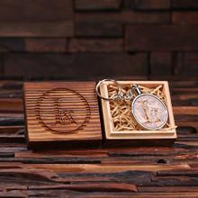 Groomsmen Bridesmaid Gift Acrylic Monogram Key Chain with Wood Box (arent)