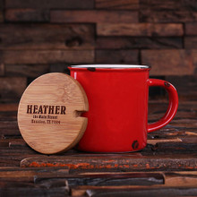 Groomsmen Bridesmaid Gift 11 oz. Ceramic Mug with Bamboo Lid (Red)