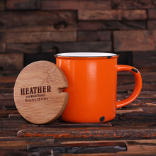 Groomsmen Bridesmaid Gift 11 oz. Ceramic Mug with Bamboo Lid (Orange)