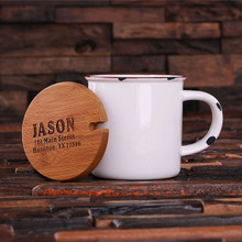 Groomsmen Bridesmaid Gift 11 oz. Ceramic Mug with Bamboo Lid (White)