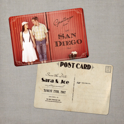 Sara - 4x6 Vintage Photo Save the Date Postcard card