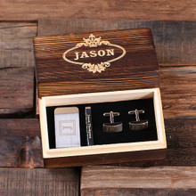 Groomsmen Bridesmaid Gift Personalized Gentleman's Gift Set Cuff Links Money Clip Tie Clip with Wood Box
