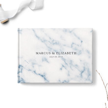 Navy Marble Wedding Guest Book