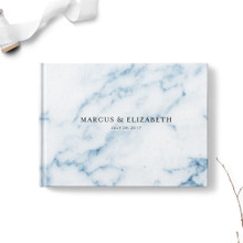 Navy Blue Marble Wedding Guest Book