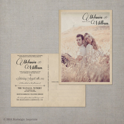 postcard wedding invitation, vintage wedding invitation, rustic wedding invitation