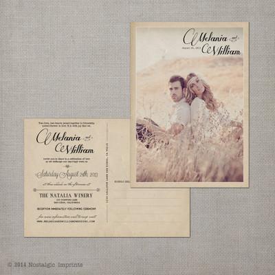 postcard wedding invitation, vintage wedding invitation, rustic wedding invitation