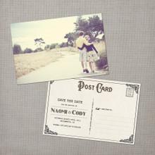 Naomi - 4x6 Vintage Photo Save the Date Postcard card