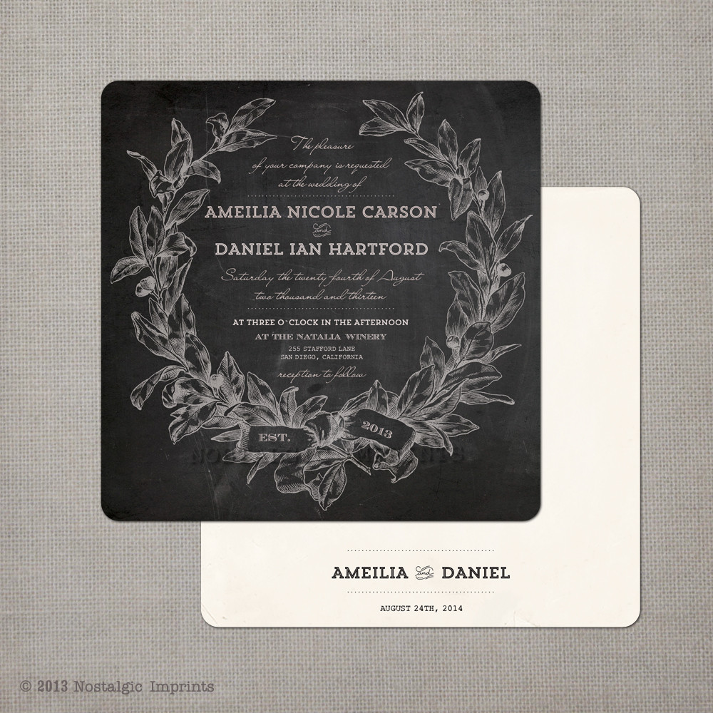 Amelia 525x525 Chalkboard Wedding Invitation Nostalgic