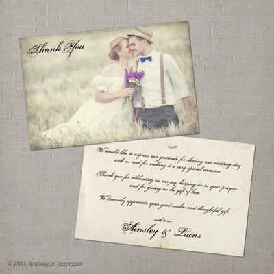 Ainsley 1 - 4x6 Vintage Wedding Thank You Card
