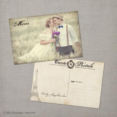Ainsley 3 - 4x6 Vintage Wedding Thank You Postcard card