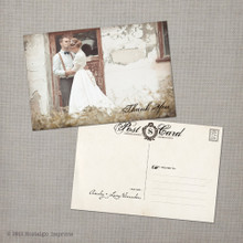 Ainsley 5 - 4x6 Vintage Wedding Thank You Postcard card