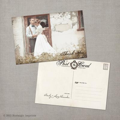 Ainsley 5 - 4x6 Vintage Wedding Thank You Postcard card