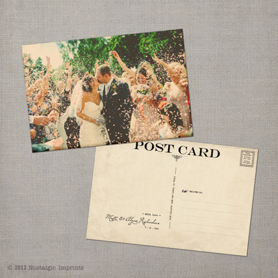 Alysse - 4x6 Vintage Wedding Thank You Postcard card