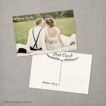 Anna - 4x6 Vintage Wedding Thank You Postcard card