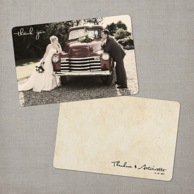 Antoinette - 4x6 Vintage Wedding Thank You Card