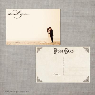 Ashley 1 - 4x6 Vintage Wedding Thank You Postcard card