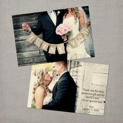 Allie - 4x6 Vintage Wedding Thank You Card