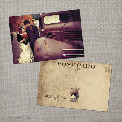 Ava - 4x6 Vintage Wedding Thank You Card postcard