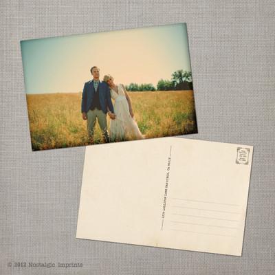 Bianca - 4x6 Vintage Wedding Thank You Postcard card