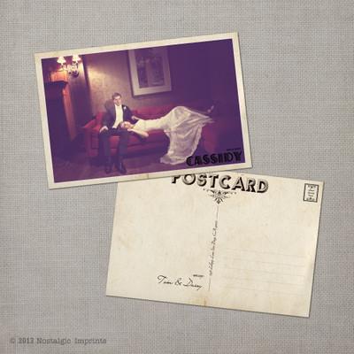 Daisy - 4x6 Vintage Wedding Thank You Postcard card gatsby