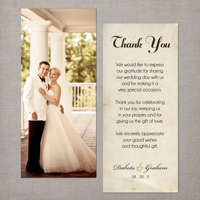 Dakota - 4x9 Vintage Wedding Thank You Card