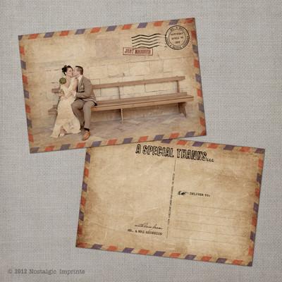 Eloise - 4x6 Vintage airmail Wedding Thank You Postcard card