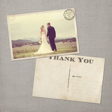 Gia - 4x6 Vintage Wedding Thank You Postcard card