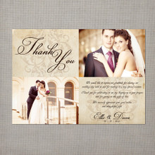 Ellie - 5x7 Vintage Wedding Thank You Card