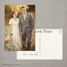 Hanna - 4x6 Vintage Wedding Thank You Postcard card
