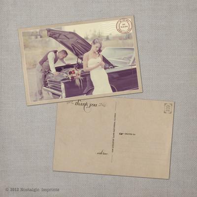Grace - 4x6 Vintage Wedding Thank You Postcard card