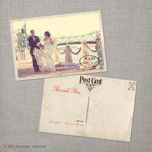 Jennifer - 4x6 Vintage Wedding Thank You Postcard card