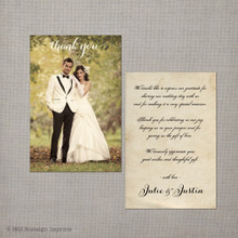 Julie - 4x6 Vintage Wedding Thank You Card